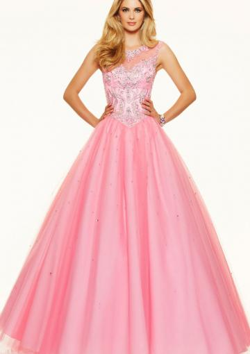Wedding - Pink Floor Length Blue Sleeveless Lace Up Tulle Straps Beading Ball Gown