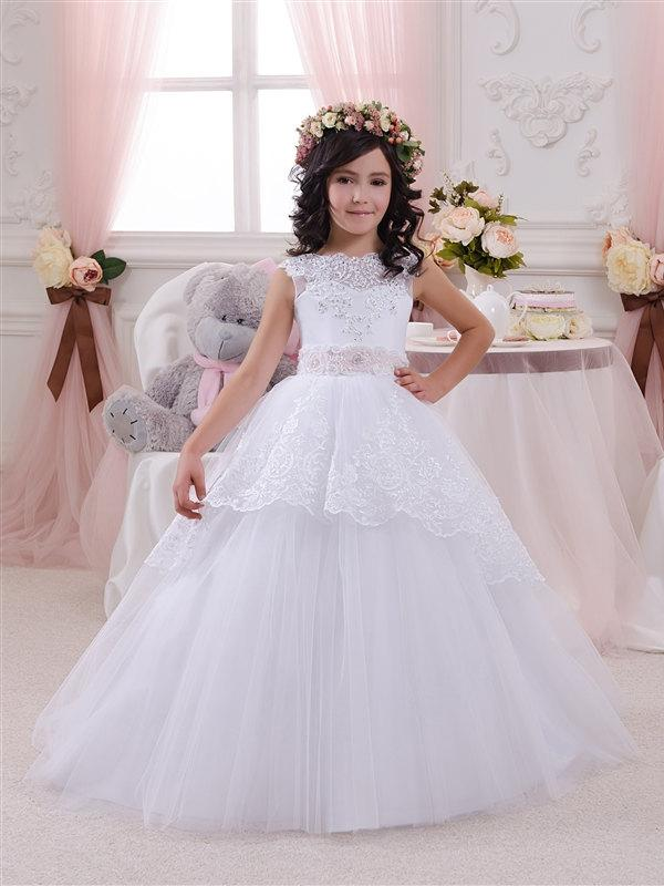 Düğün - Lace White Flower Girl Dress - Birthday Bridesmaid Wedding Party Holiday White Lace Tulle Flower Girl Dress