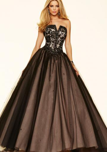Mariage - Strapless Black Appliques Floor Length Sleeveless Lace Up Tulle Beading Ball Gown