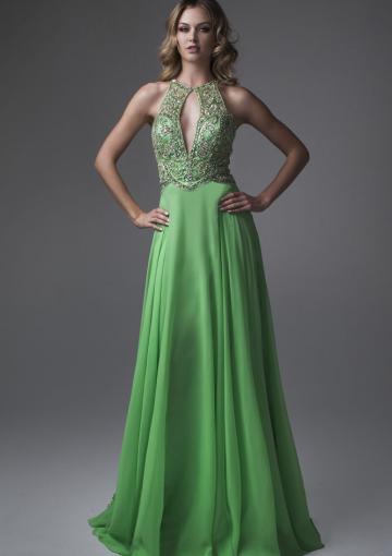Wedding - Halter Floor Length Sleeveless Green Ruched Beading Chiffon
