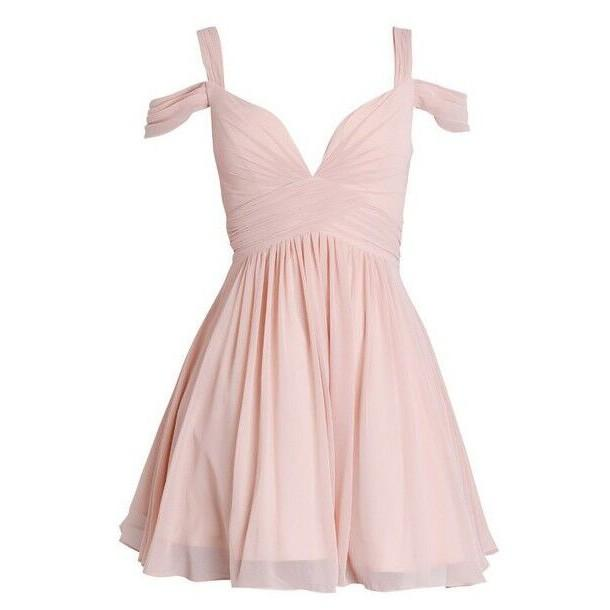 Wedding - Short/Mini Chiffon Bridesmaid Dress - Pink A-Line Off-the-Shoulder