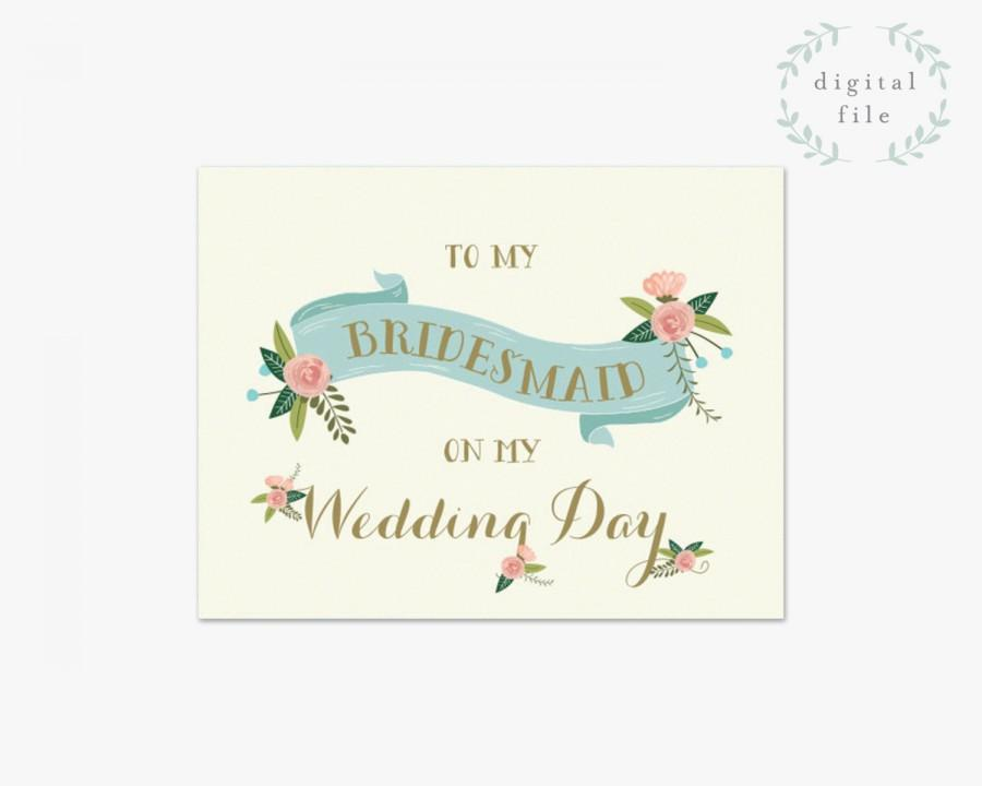 زفاف - PRINTABLE Bridesmaid Wedding Card // To my Bridesmaid on my wedding day // Bridal Party // Bridesmaid Card // INSTANT DOWNLOAD