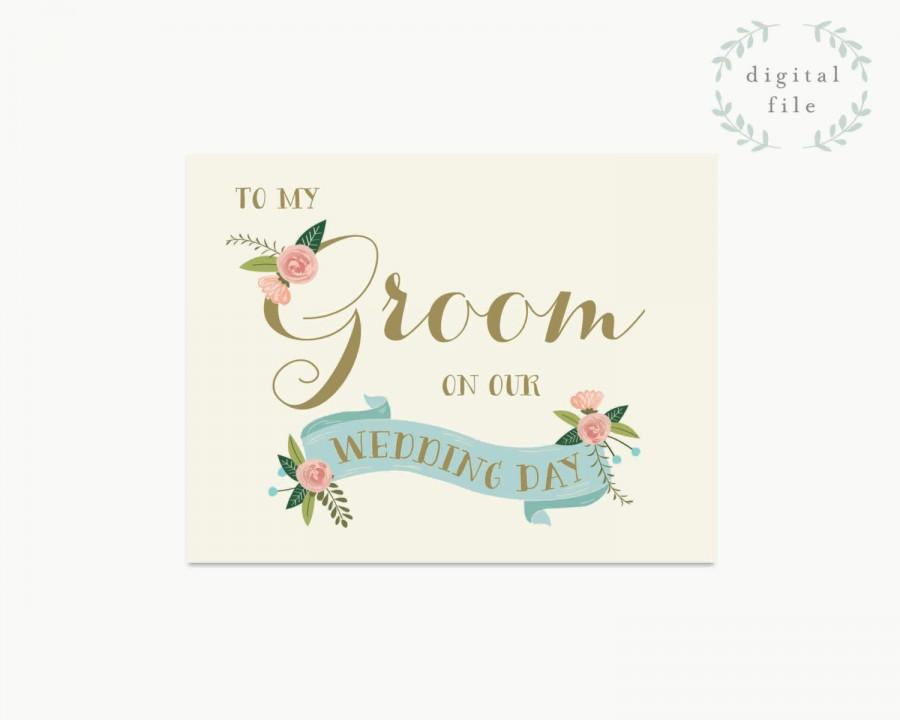PRINTABLE Groom Wedding Card // To My Groom On Our Wedding Day ...
