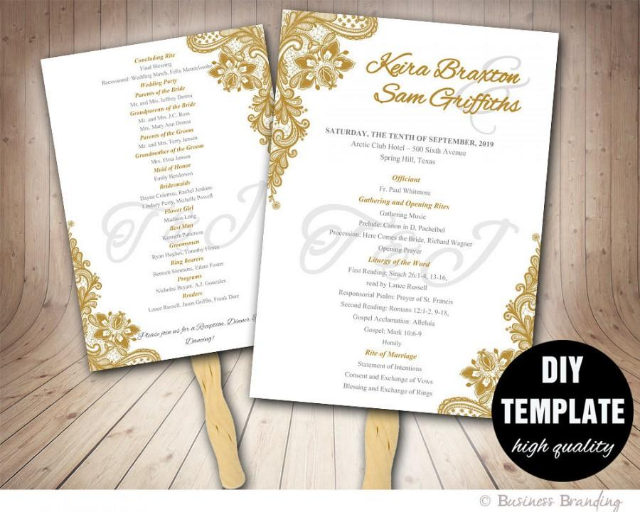 gold wedding program fan template diy instant download printable