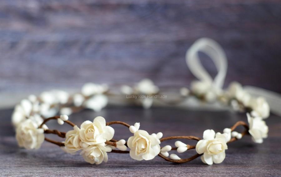 زفاف - Ivory flower crown wedding, Flower girl wreath, Ivory woodland crown, Hair wreath, Rustic flower crown, Bridal ivory crown, Flower girl halo