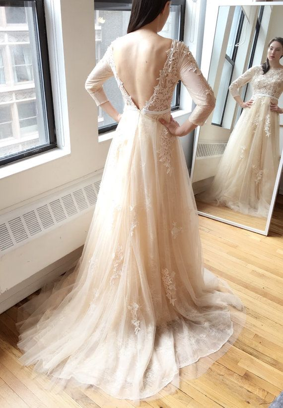Light creamy champagne long sleeve deep v lace wedding for Jewelry for champagne wedding dress