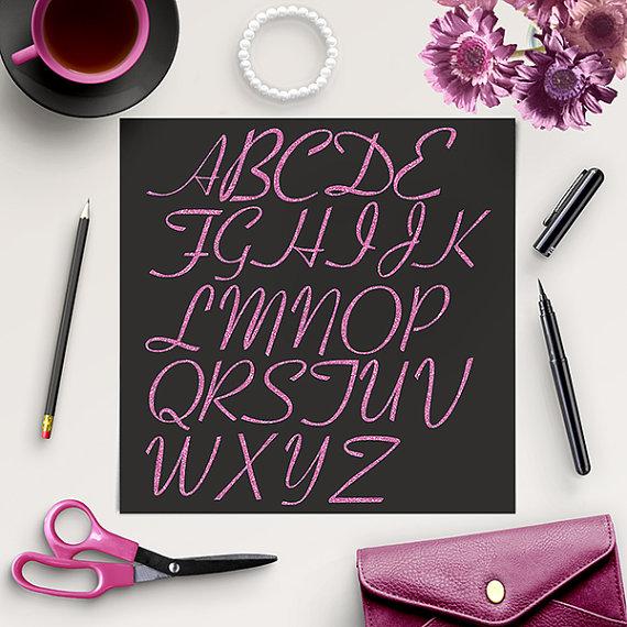 Свадьба - BUY5FOR8 Glitter Alphabet Clipart, Glitter Letters, Pink Alphabet Clip Art, Pink Digital Alphabet, Sparkle Letters