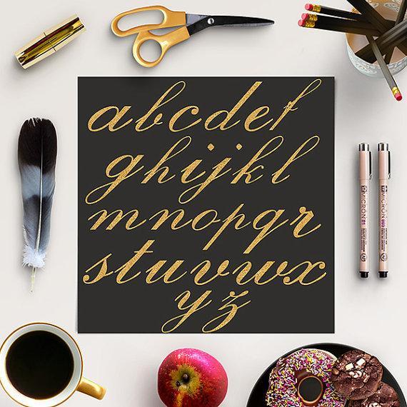 Свадьба - BUY5FOR8 Gold Alphabet, Glitter Letters, Gold Sparkle Alphabet, Glitter Font, Gold Glitter Cursive, Digital Alphabet Letters