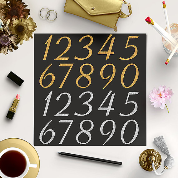 Wedding - BUY5FOR8 Gold And Silver Numbers Clipart, Sparkle Numbers, Glitter Clip Art, Printable Numbers, Instant Download