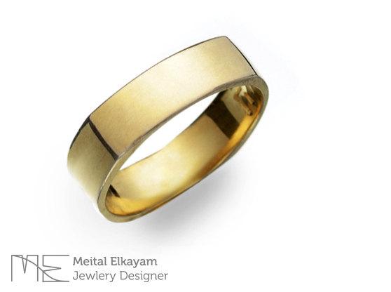 Hochzeit - 14k Yellow Gold Kaballah Ring, Kaballah Wedding Ring, Jewish Jewelry, wedding band, wedding ring, gold rings, geometric square ring