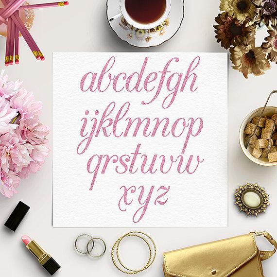 Hochzeit - BUY 5 FOR 8 Rose Glitter Alphabet, Pink Font Clip Art, Hand Drawn Letters, Pink Alphabet, Sparkle Clipart, Lower Case Letters
