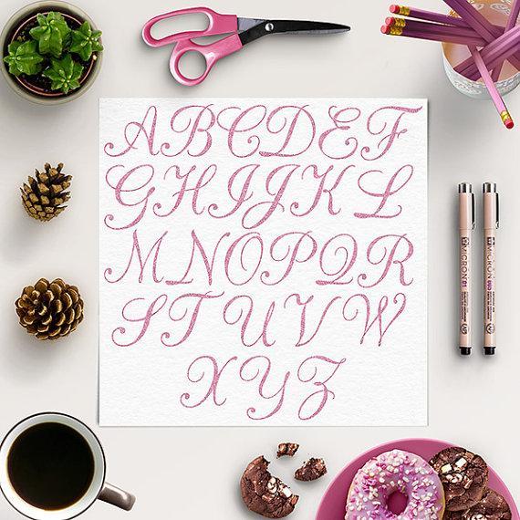 Wedding - Glitter Alphabet Clip Art, Sparkly Letters Clipart, Glitter Letters, Rose Glitter, Sparkly Clip Art, Hand Letters, BUY 5 FOR 8