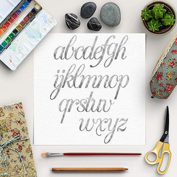 Nozze - Silver Alphabet, Silver Font Clip Art, Hand Drawn Letters, Silver Foil Alphabet, Silver Clip Art, Lower Case Letters, BUY5FOR8