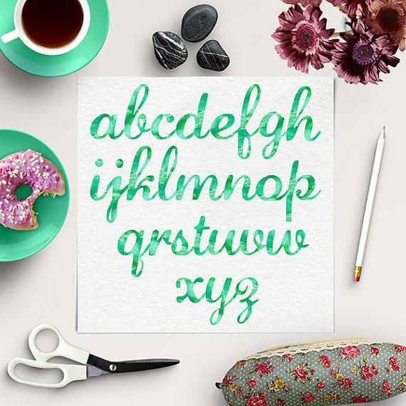 Свадьба - Watercolor Alphabet Clipart, Green Font, Watercolour Texture Letters, Transparent Background, Digital Green Alphabet, BUY 5 FOR 8