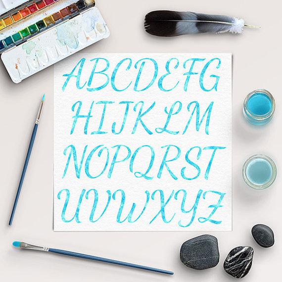 Wedding - BUY5FOR8, Blue Watercolor Alphabet Clipart, Aqua Blue Watercolor Letters, Blue Letters, Scrapbooking Clipart