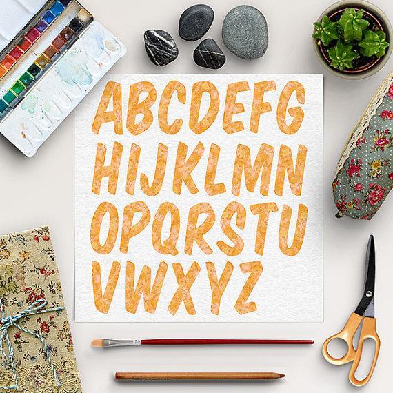 Wedding - Watercolor Font Clipart, Orange Alphabet, Digital Letters, Brush Digital Alphabet Clip Art, Watercolor Letters, BUY 5 FOR 8