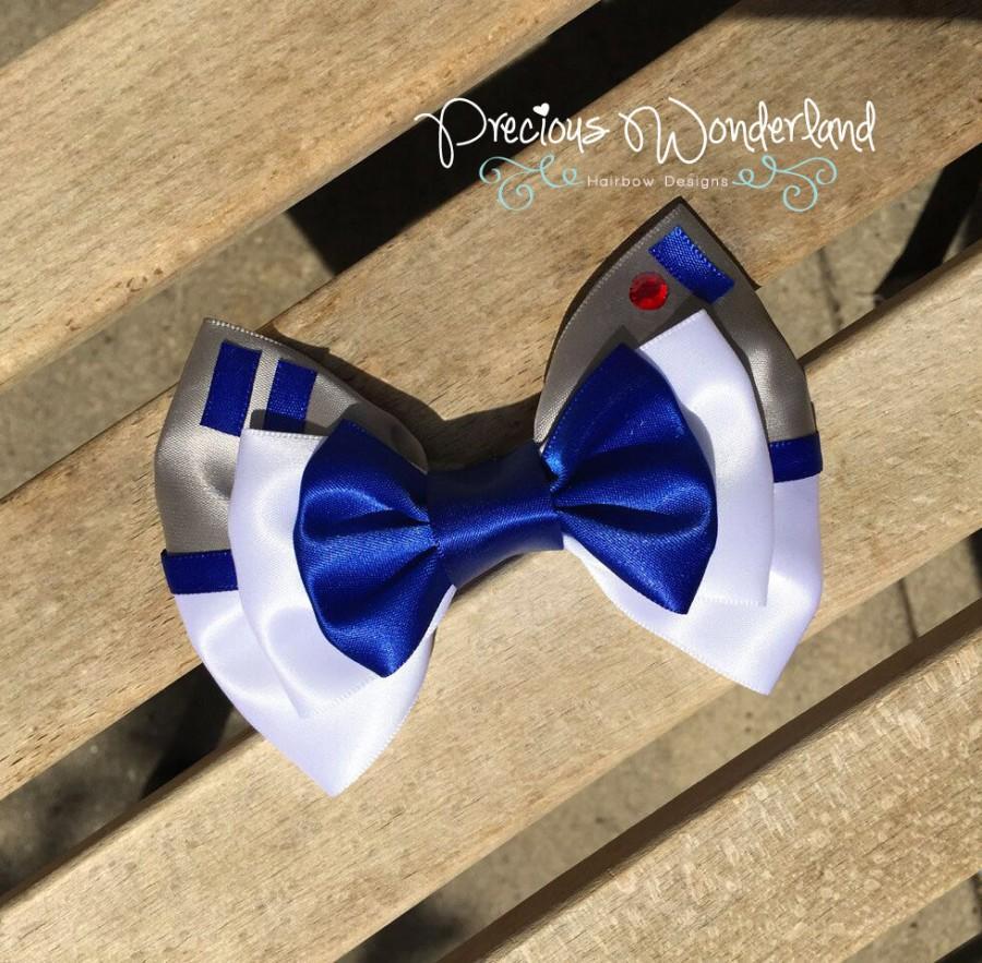 زفاف - Blue Droid Hair Bow