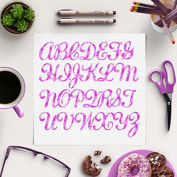 زفاف - Pink Watercolor Alphabet Clipart, Painted Letters, Watercolor Scrapbooking Clip Art, Painted Font, Pink Letters, BUY 5 FOR 8