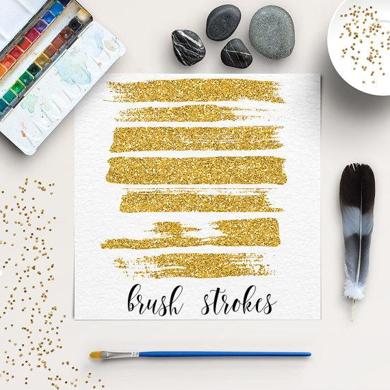 Boda - Glitter Brush Strokes Clip Art