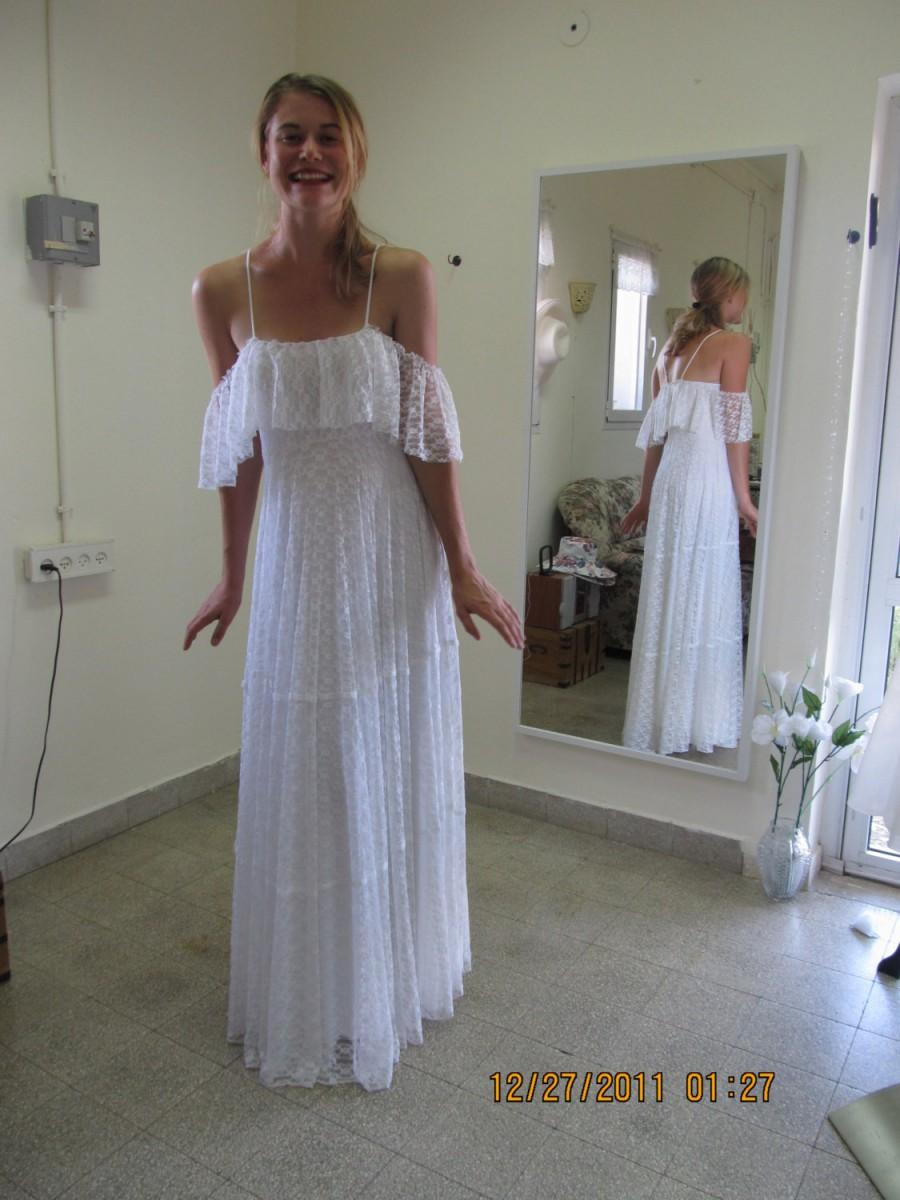 Wedding Dress Boho Bohemian 70s Simple Paulastudio