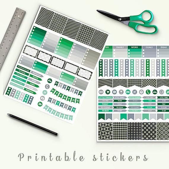 Wedding - Forest Green And Chalkboard Planner Stickers, Printable Planner Stickers, Erin Condren Life Planner, Planner Accessories, NordicPlan