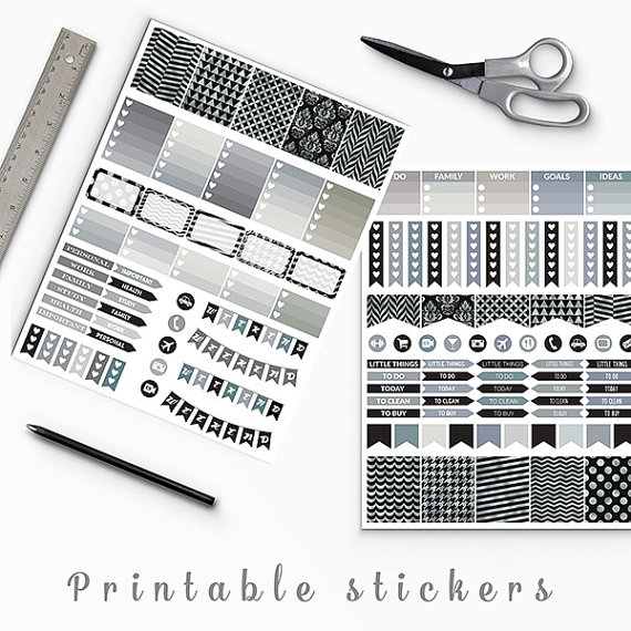 50 sale black and silver planner stickers erin condren printable planner stickers box stickers flags weekend banners