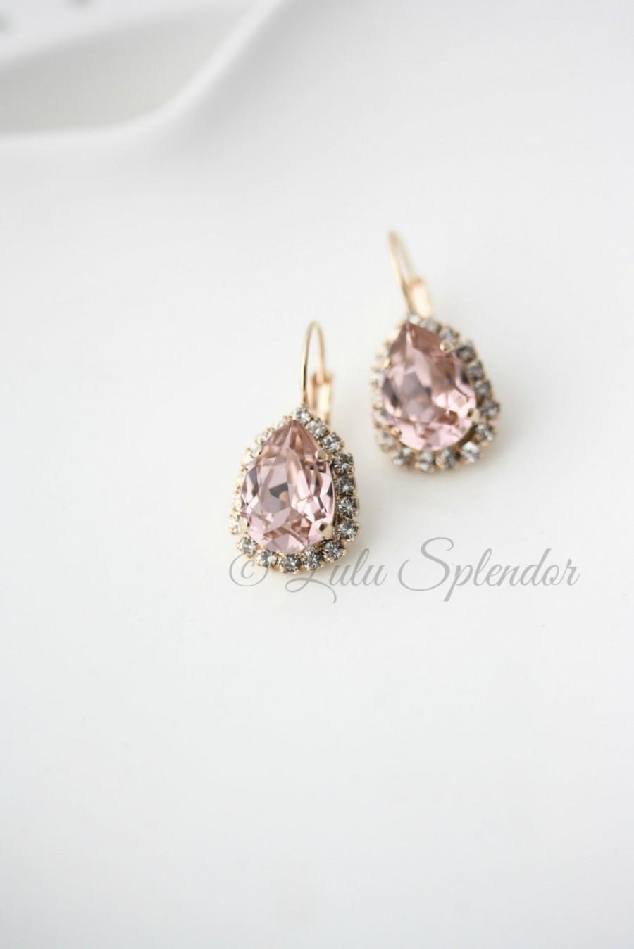 Blush Crystal Drop Earrings Rose Gold Teardrop Vintage Bridal Pink Wedding Jewelry Z15