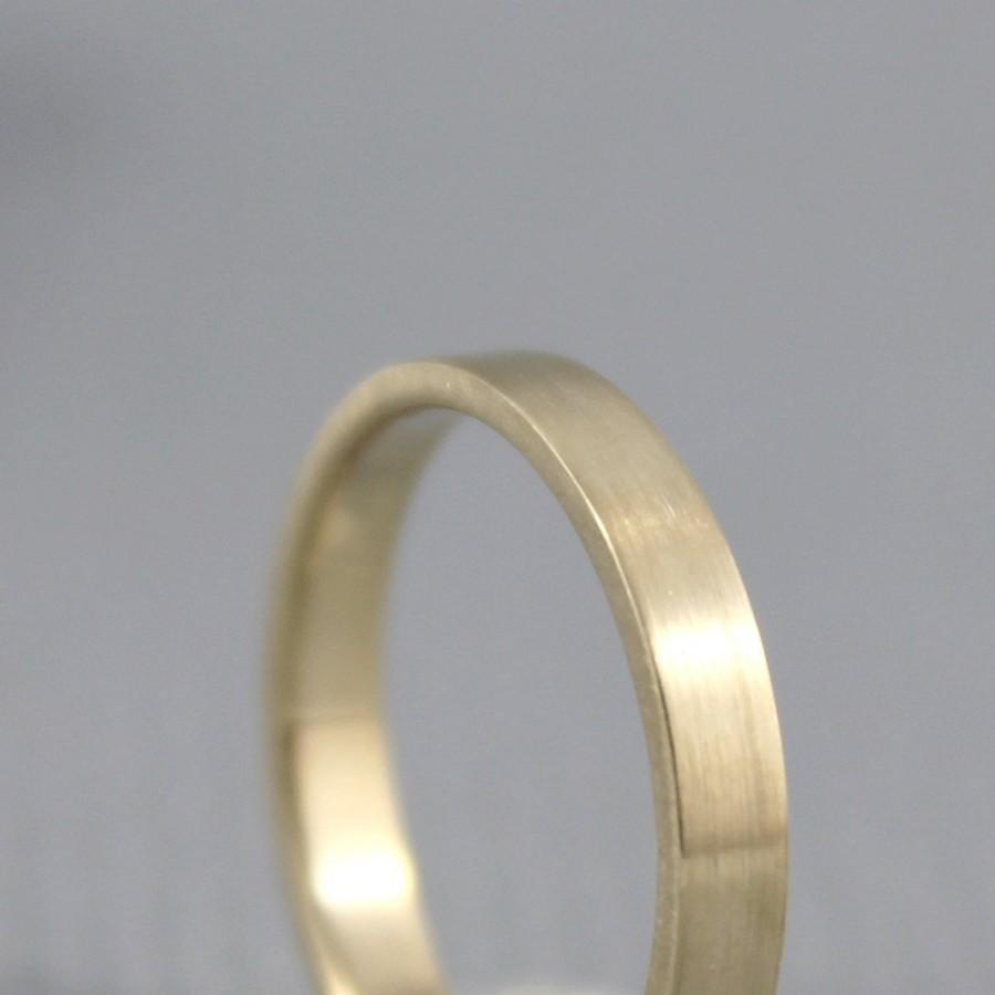 Mariage - 3mm 14K Yellow Gold Wedding Band - Unisex - Matte Finish or Polished Finish - Commitment Rings - Classic Wedding Band - Mens Wedding Ring
