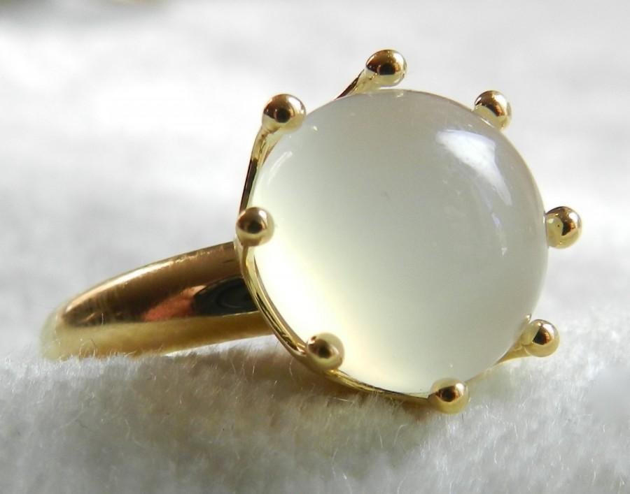 زفاف - Moonstone Engagement Ring 18K Gold Vintage Moonstone Ring, Alternative June Birthstone