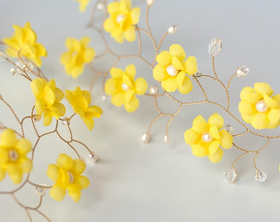 51yellow Hair Flower Tiara Yellow Wedding Hair Flowers Headband