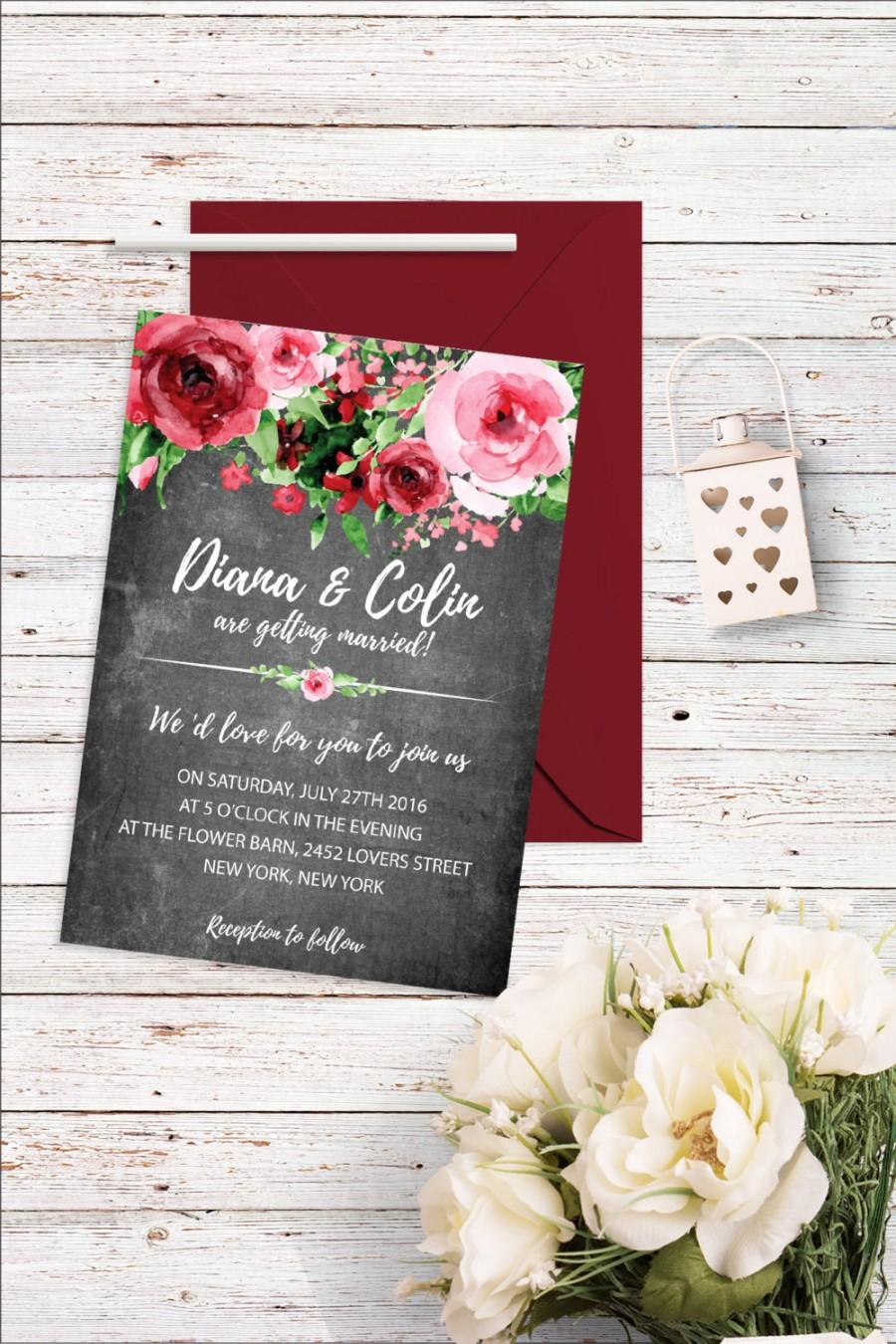 Floral Chalkboard Wedding Invitation Flower Wedding Invitation ...