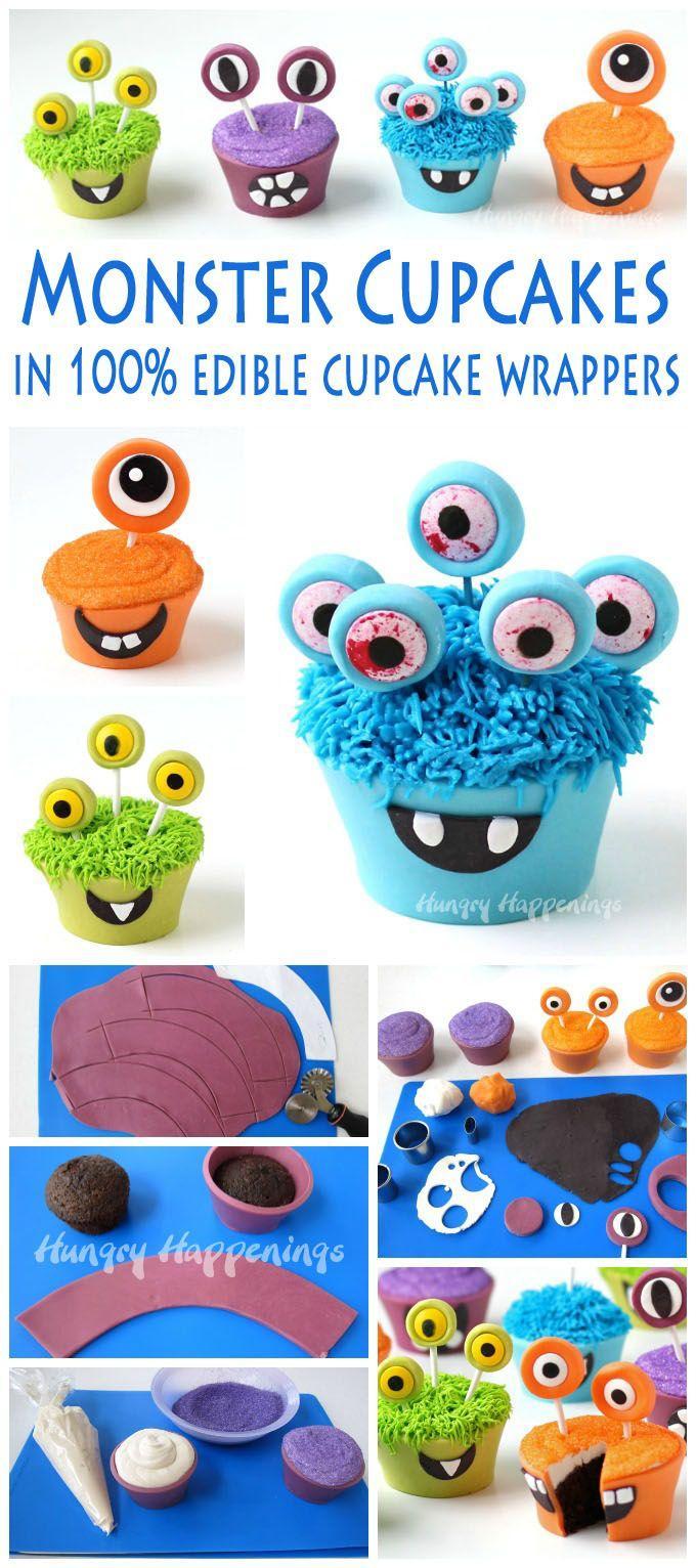 زفاف - Halloween Cupcakes - Cupcake Monsters With Edible Cupcake Wrappers - Hungry Happenings
