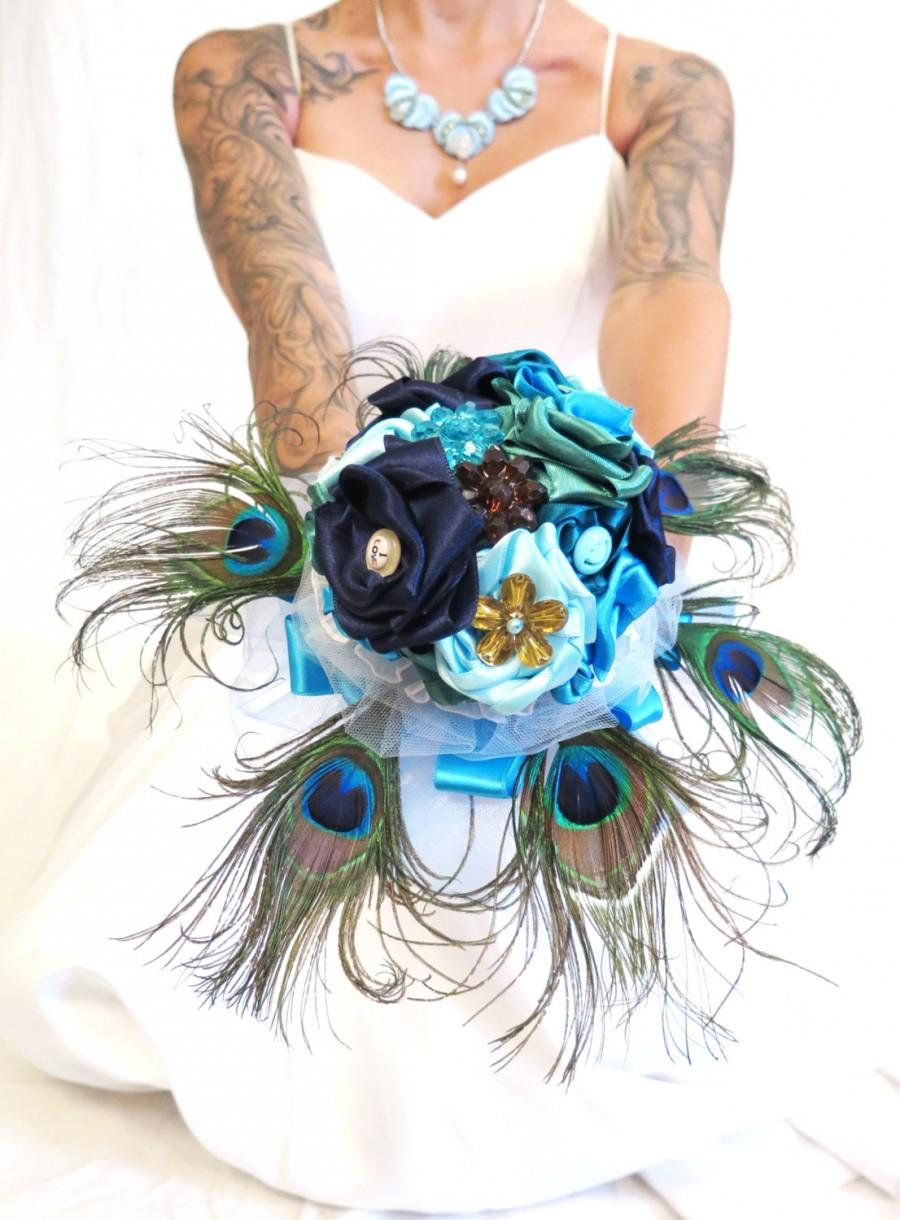 Mariage - Alternative Bouquet , Peacock Brooch Bouquet , Something Blue bouquet , Fabric bouquet , Alternative Unconventional Wedding Bouquet