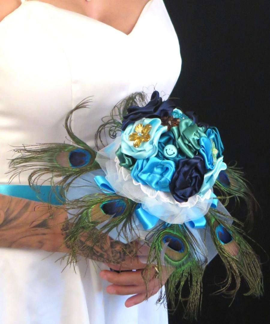 Mariage - Brooch Bouquet , Peacock Brooch Bouquet , Something Blue bouquet , Fabric bouquet , Alternative Unconventional Wedding Bouquet
