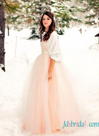 Colored Tulle Wedding Dress