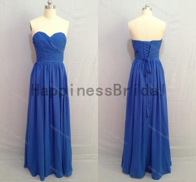 Wedding - Blue sweetheart chiffon dress with pleat,fashion prom dresses,hot sales dresses,bridesmaid dress,chiffon prom dress,high quality dress 2016
