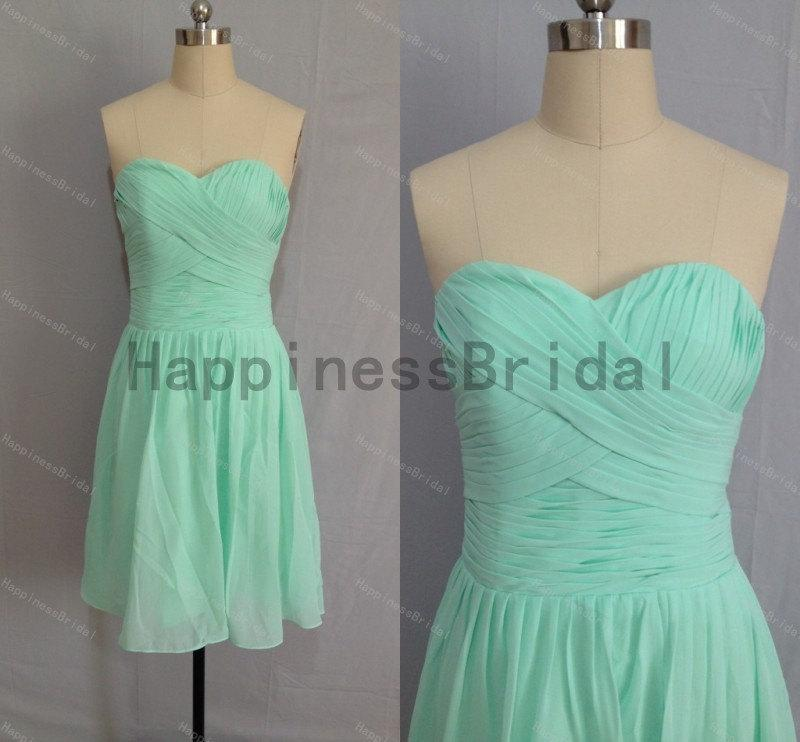زفاف - Short mint sweetheart chiffon prom dress with pleat,prom dresses,bridesmaid dress,chiffon prom dress,short evening dress,short formal dress