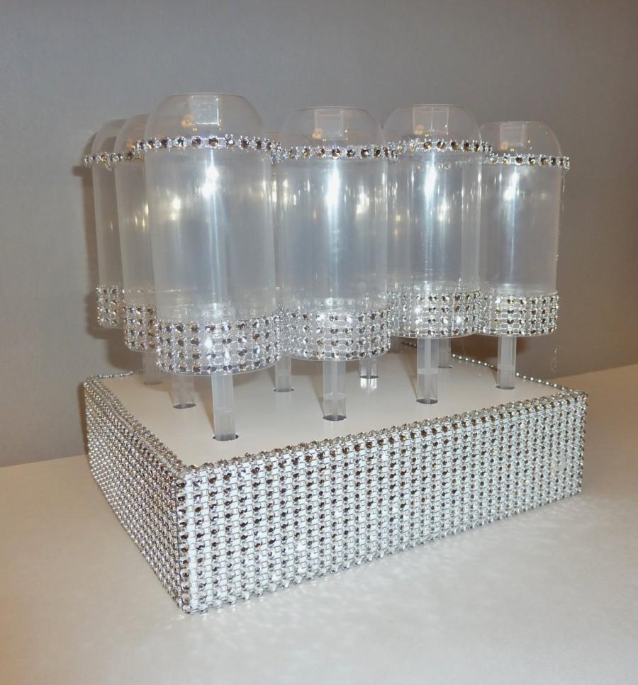 Mariage - cake push pop stand wedding confetti popper display holder bling faux rhinestone candy treat buffet table STAND ONLY containers not inc