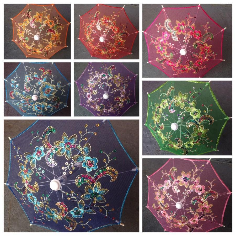 Set of 12 small lace embroidered parasol umbrella for wedding set of 12 small lace embroidered parasol umbrella for wedding party decoration table setting wall deco 8 junglespirit Images