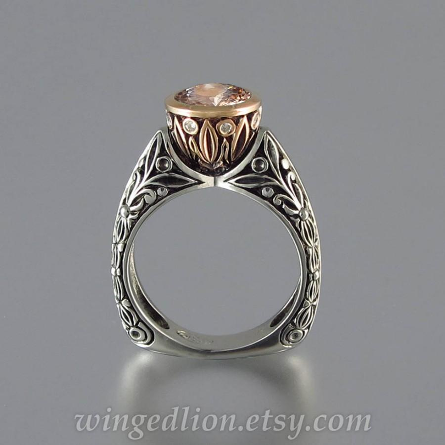 Свадьба - The CROWNED COUNTESS Morganite engagement ring 14K rose gold and silver (sizes 7 to 9.5)