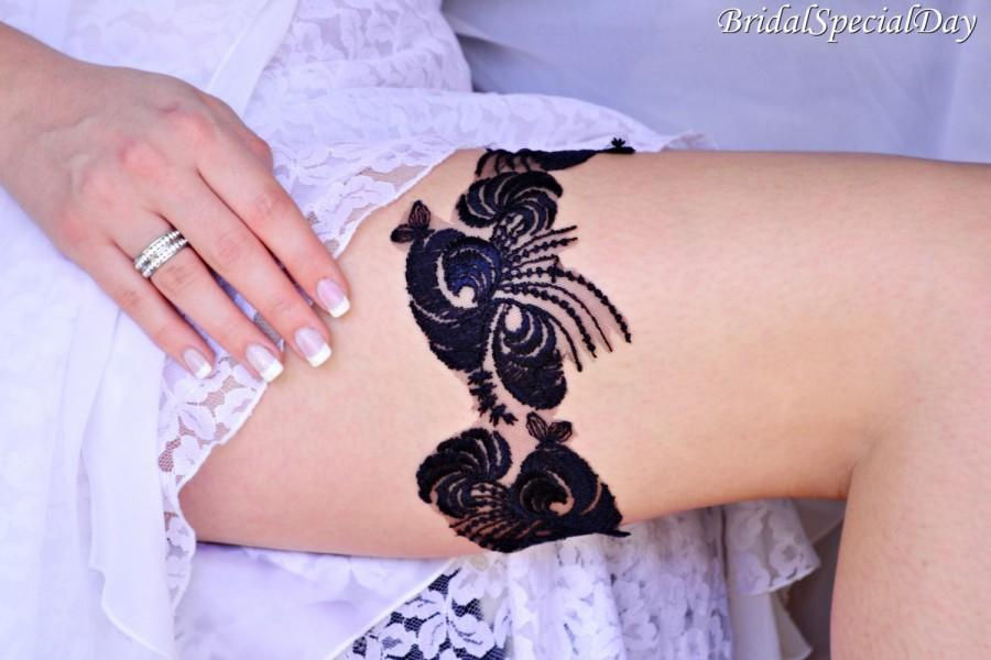 Hochzeit - Wedding Garter, Dark  Blue Garter, Bridal Garter, Blue Lace Garter, Bridal Garter Set, Something Blue, Wedding Garter Blue, Lace Garter Set