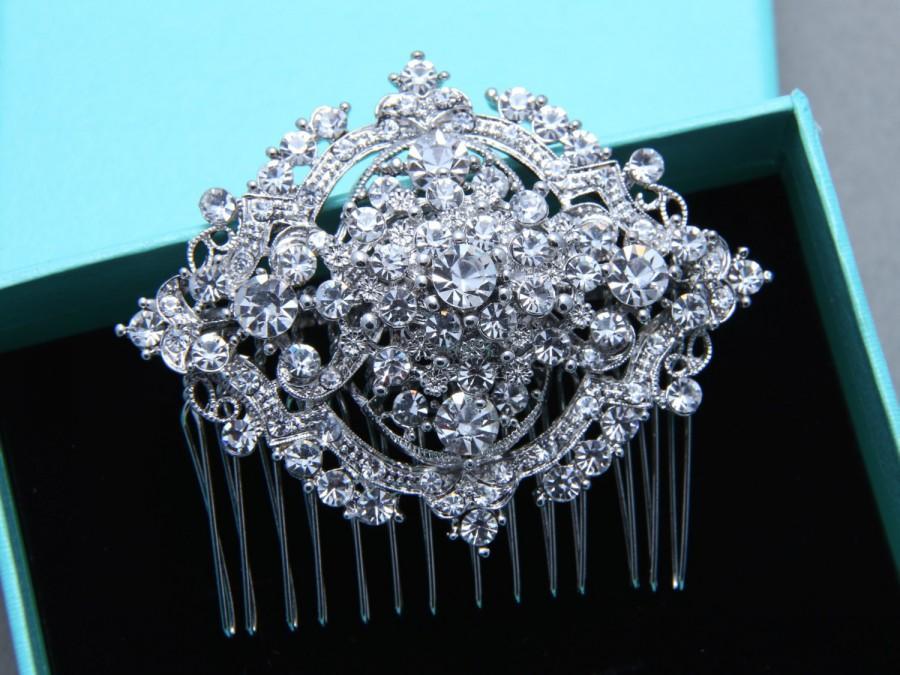 Hochzeit - Vintage Style Oval Aurora Borealis Rhinestone Crystal Wedding Hair Comb, Bridal Hair Comb, Wedding Hair Accessory