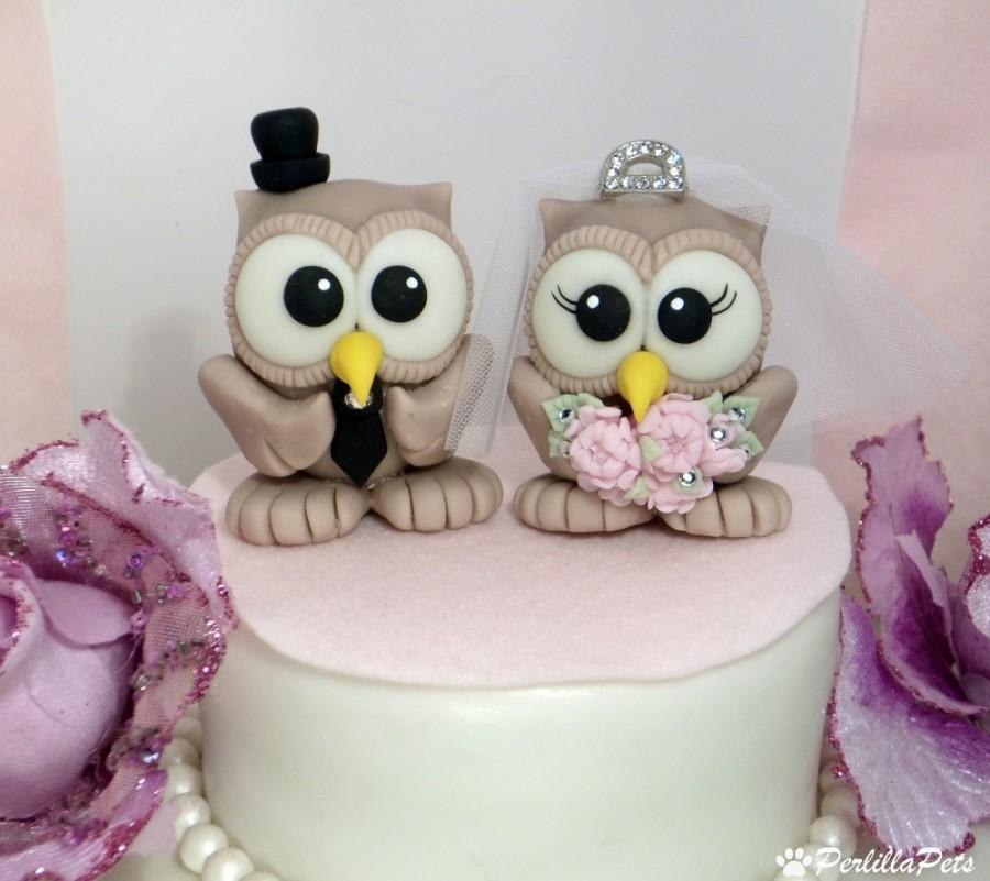 Свадьба - Owl wedding cake topper with elegant tiara and banner for names and date