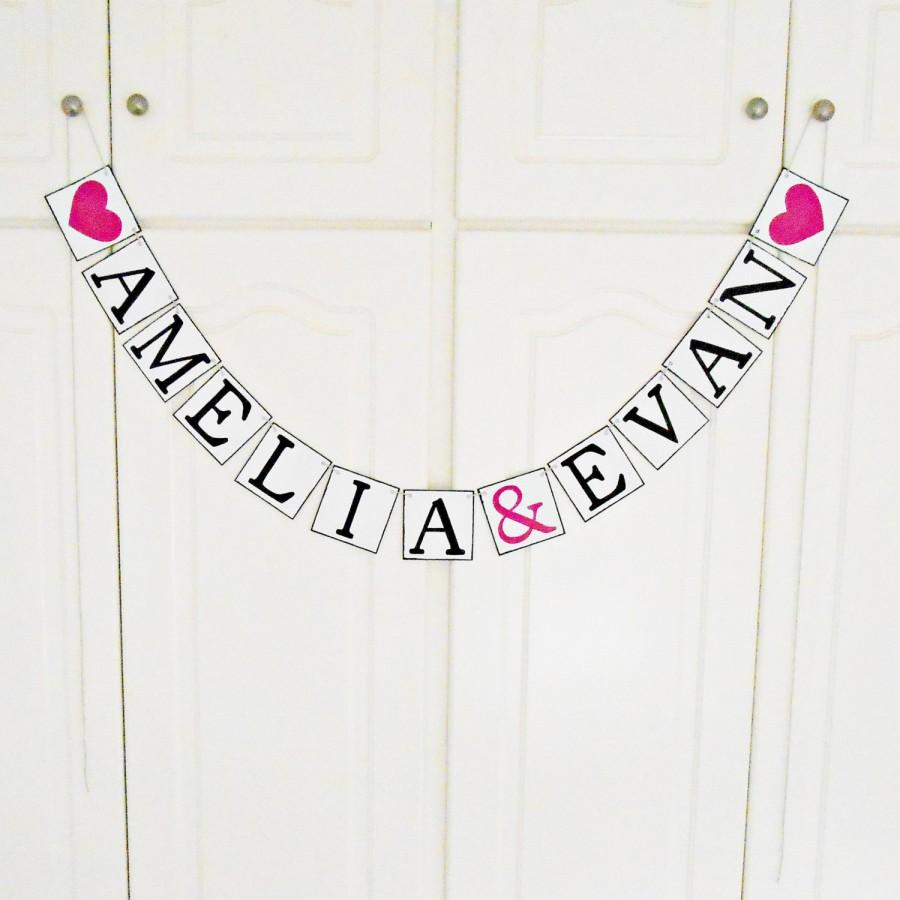 free shipping personalized wedding name banner bridal shower banner engagement decoration custom banner bachelorette party hot pink
