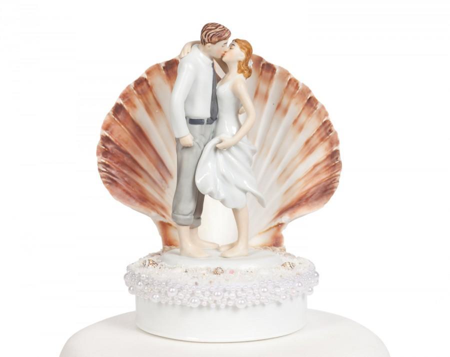 Свадьба - Beach Get Away Shell Wedding Cake Topper - Custom Painted Hair Color Available - 109243