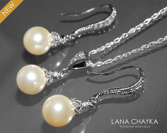 Wedding - Ivory Pearl Earrings and Necklace Set STERLING SILVER Cz Small Drop Pearl Set Swarovski 8mm Pearl Necklace&Earring Set Wedding Pearl Jewelry