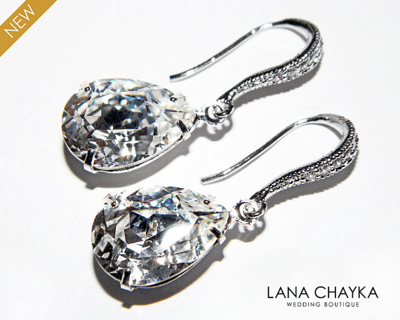 Wedding - Wedding Crystal Earrings Swarovski Rhinestone Teardrop Earrings Bridal Earrings Wedding Jewelry Clear Crystal Cz Silver Earrings