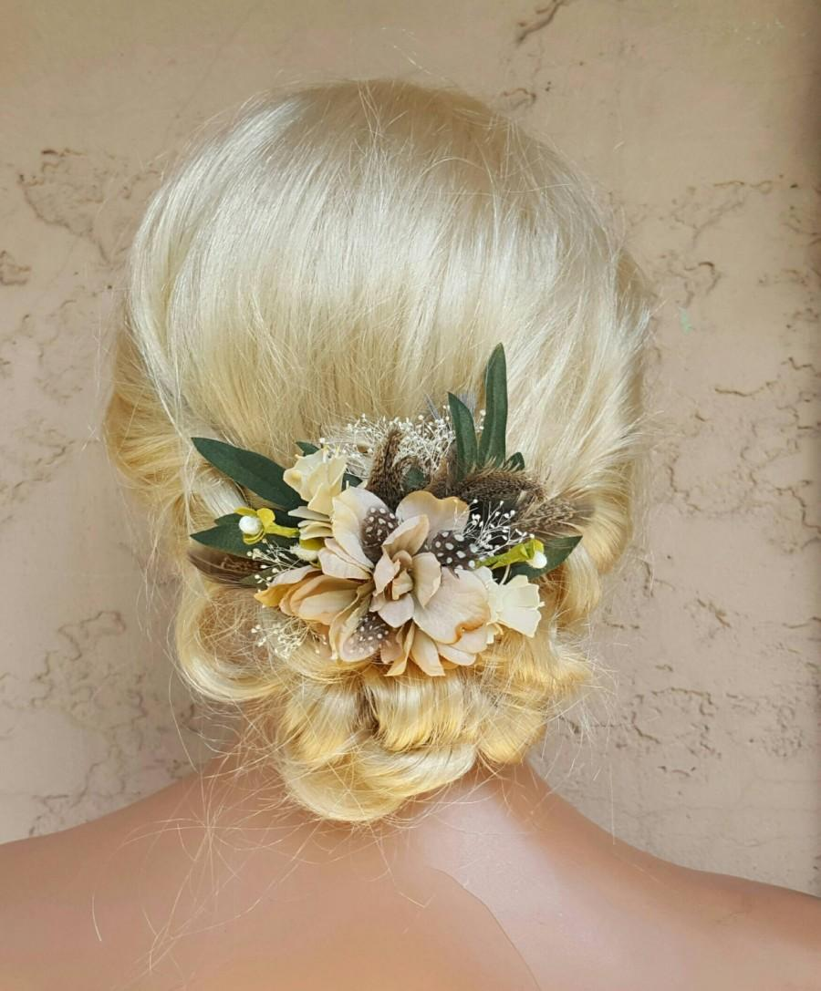 Bridal hair accessories babys breath - Bridal Hair Comb Wedding Comb Decorative Comb Floral Wedding Comb Wildflowers Babys Breath Rustic Outdoor Wedding Boho Chic