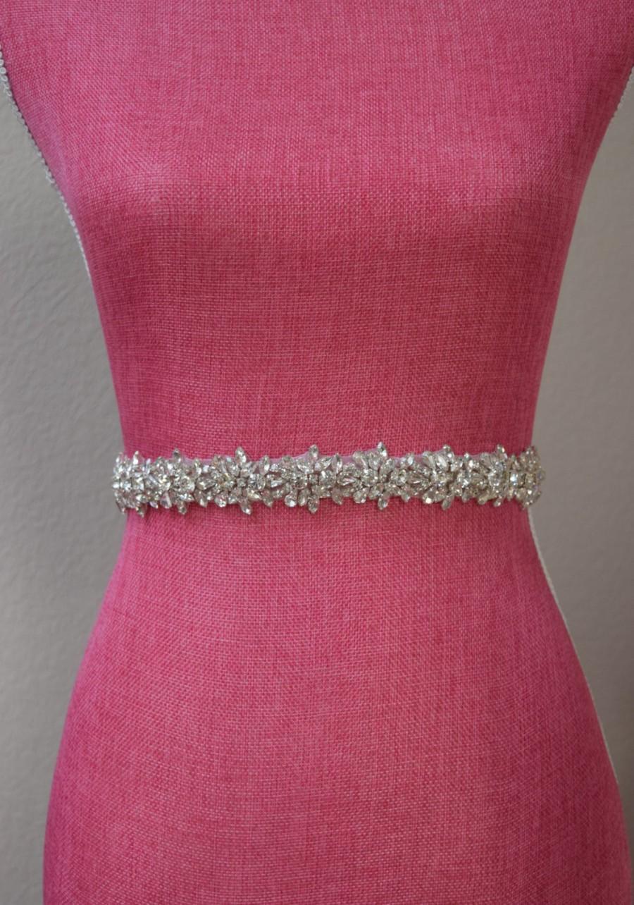 Mariage - Full Length Rhinestone Bridal Belt-  All the Way Around Embellished Belt with Clasp - Bridal Sash - Thin Rhinestone Belt - EYM B014