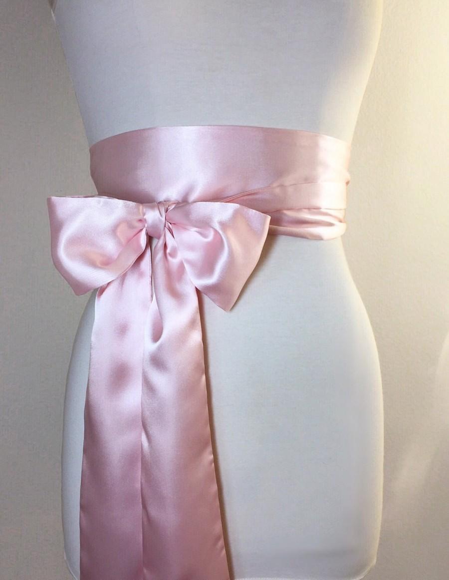 Pink Wedding Dress Sash : Blush pink sash satin belt obi light